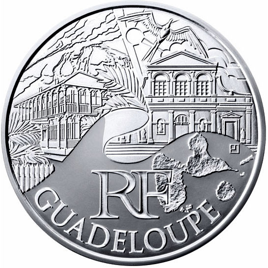 Image of 10 euro coin - Guadeloupe  | France 2011.  The Silver coin is of UNC quality.