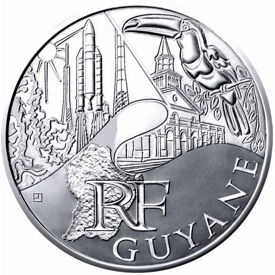 Image of 10 euro coin - French Guiana  | France 2011.  The Silver coin is of UNC quality.