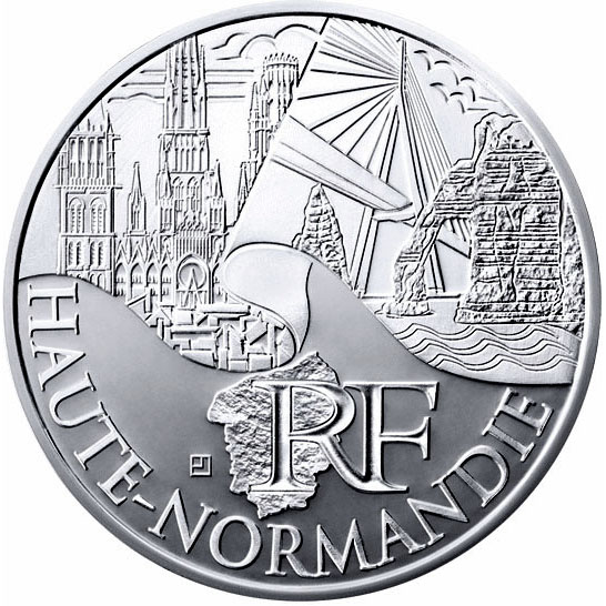 Image of 10 euro coin – Upper Normandy | France 2011.  The Silver coin is of UNC quality.