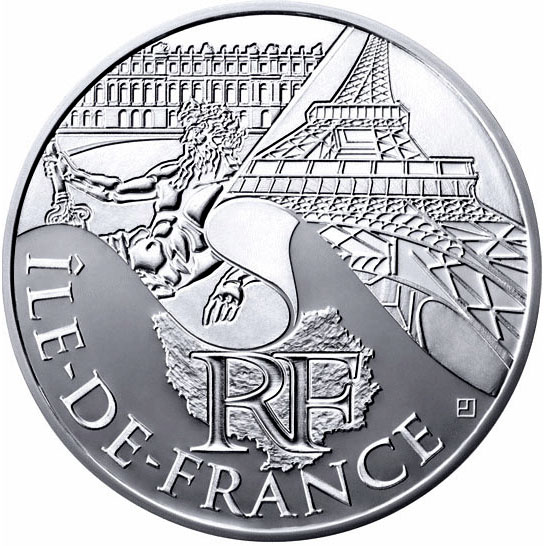 Image of Paris Isle of France – 10 euro coin France 2011.  The Silver coin is of UNC quality.