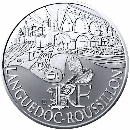 Image of Languedoc Roussillon – 10 euro coin France 2011.  The Silver coin is of UNC quality.