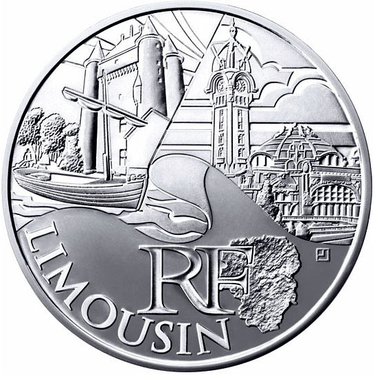 Image of 10 euro coin - Limousin | France 2011.  The Silver coin is of UNC quality.