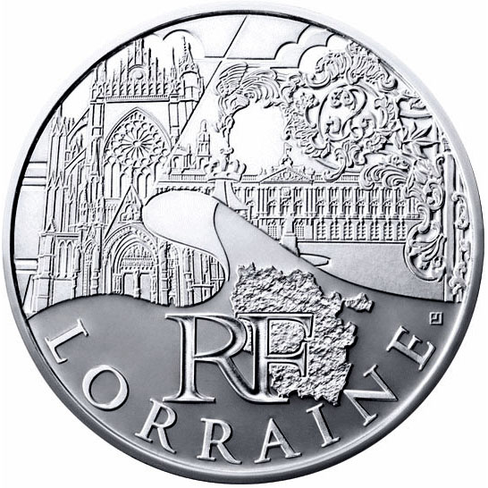 Image of 10 euro coin - Lorraine | France 2011.  The Silver coin is of UNC quality.