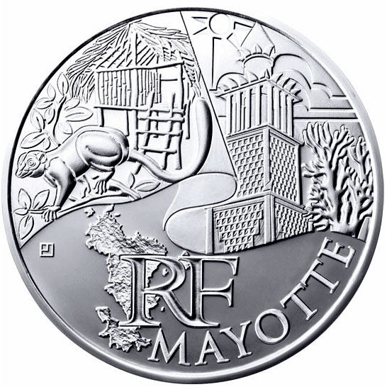Image of 10 euro coin - Mayotte  | France 2011.  The Silver coin is of UNC quality.