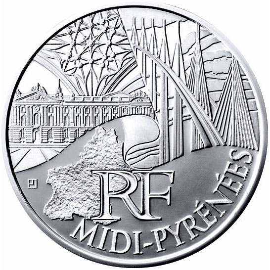 Image of 10 euro coin - Midi Pyrenees | France 2011.  The Silver coin is of UNC quality.
