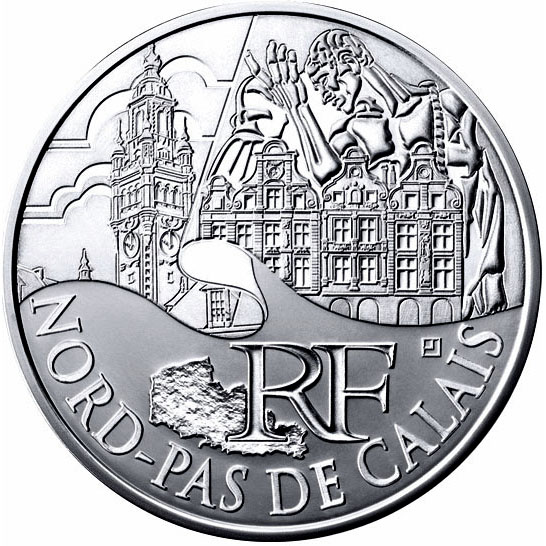 Image of 10 euro coin North Calais | France 2011.  The Silver coin is of UNC quality.