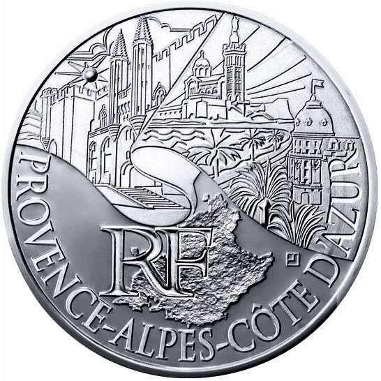 Image of 10 euro coin - Provence Alpes Azur | France 2011.  The Silver coin is of UNC quality.