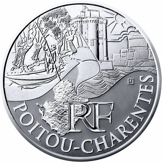 Image of 10 euro coin - Poitou Charentes | France 2011.  The Silver coin is of UNC quality.
