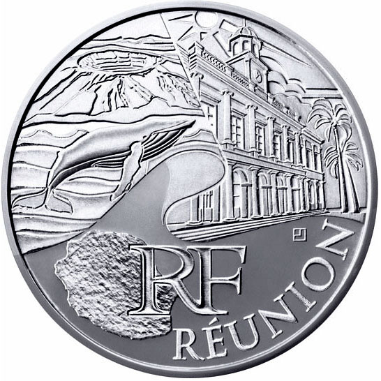 Image of 10 euro coin - Reunion  | France 2011.  The Silver coin is of UNC quality.