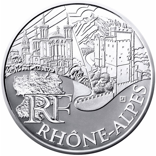 Image of 10 euro coin - Rhone Alps | France 2011.  The Silver coin is of UNC quality.