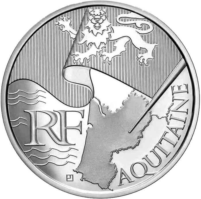 Image of 10 euro coin – Aquitaine | France 2010.  The Silver coin is of UNC quality.
