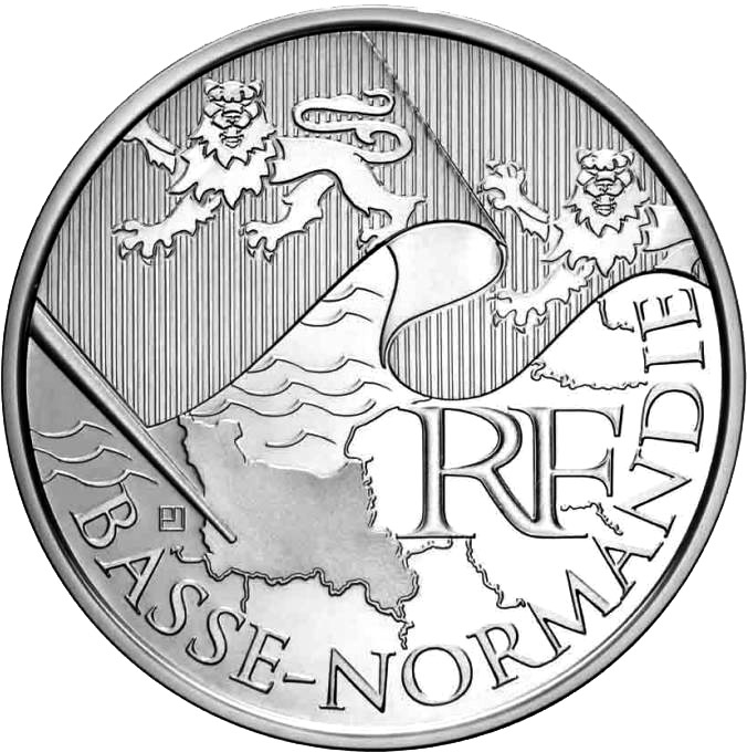 Image of 10 euro coin - Lower Normandy | France 2010.  The Silver coin is of UNC quality.