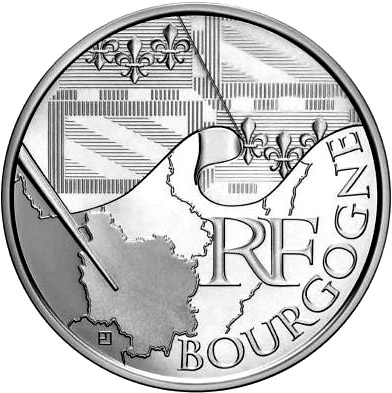 Image of 10 euro coin - Burgundy | France 2010.  The Silver coin is of UNC quality.