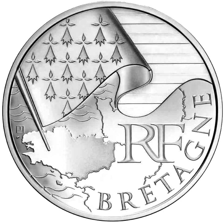 Image of 10 euro coin - Brittany | France 2010.  The Silver coin is of UNC quality.