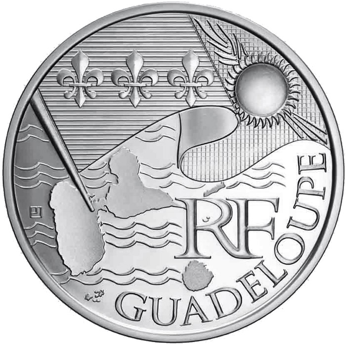 Image of 10 euro coin - Guadeloupe  | France 2010.  The Silver coin is of UNC quality.