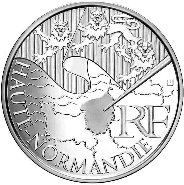 Image of Upper Normandy – 10 euro coin France 2010.  The Silver coin is of UNC quality.