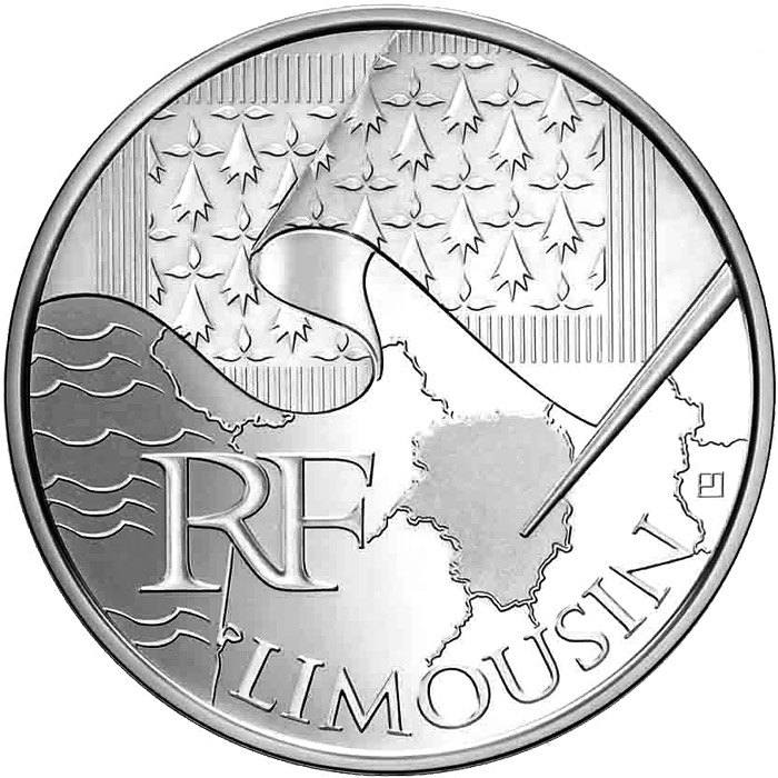 Image of 10 euro coin - Limousin | France 2010.  The Silver coin is of UNC quality.