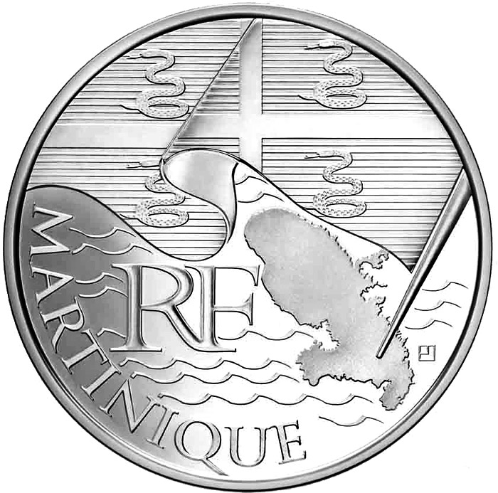 Image of 10 euro coin - Martinique  | France 2010.  The Silver coin is of UNC quality.