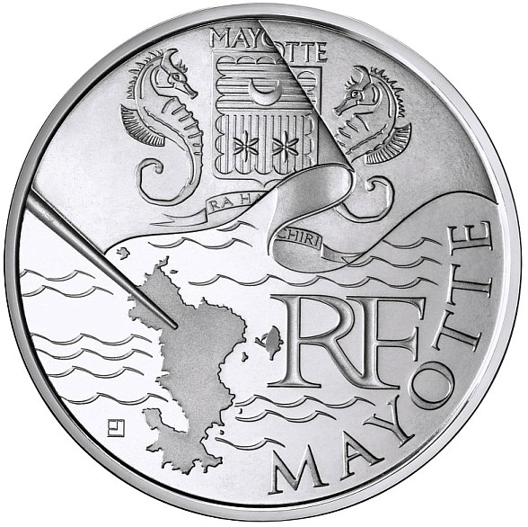 Image of 10 euro coin – Mayotte  | France 2010.  The Silver coin is of UNC quality.