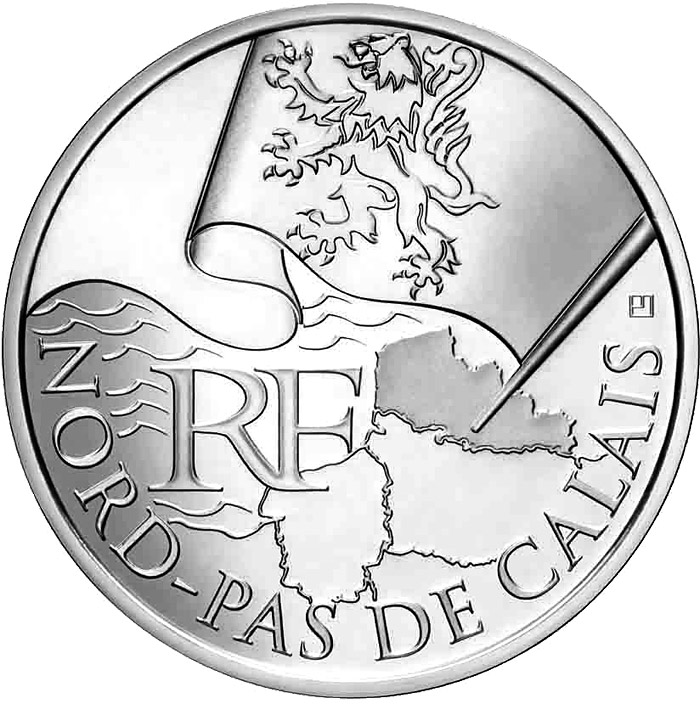 Image of 10 euro coin - North Calais | France 2010.  The Silver coin is of UNC quality.
