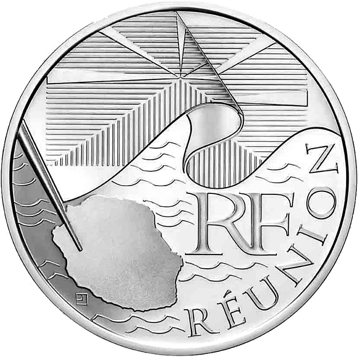 Image of 10 euro coin Reunion  | France 2010.  The Silver coin is of UNC quality.