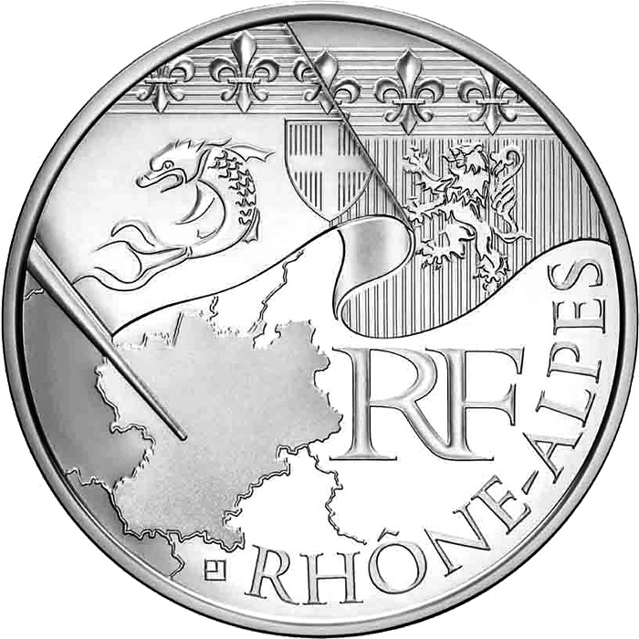 Image of 10 euro coin - Rhone Alps | France 2010.  The Silver coin is of UNC quality.