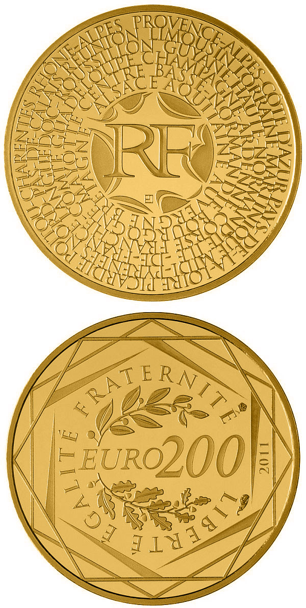 Image of 200 euro coin Regions of France | France 2011.  The Gold coin is of Proof quality.