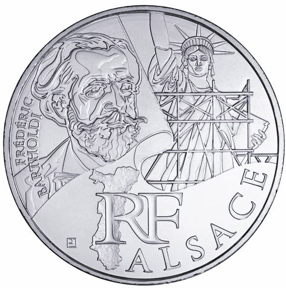 Image of 10 euro coin - Alsace (Frédéric-Auguste Bartholdi) | France 2012.  The Silver coin is of UNC quality.