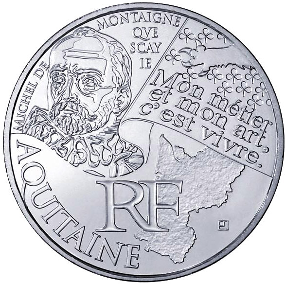 Image of 10 euro coin Aquitaine (Michel de Montaigne) | France 2012.  The Silver coin is of UNC quality.