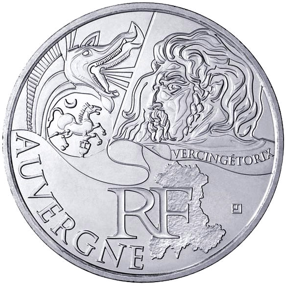 Image of 10 euro coin – Auvergne (Vercingétorix) | France 2012.  The Silver coin is of UNC quality.