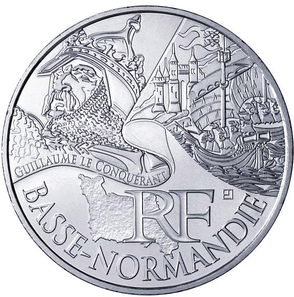 Image of 10 euro coin - Lower Normandy (Guillaume le Conquérant) | France 2012.  The Silver coin is of UNC quality.
