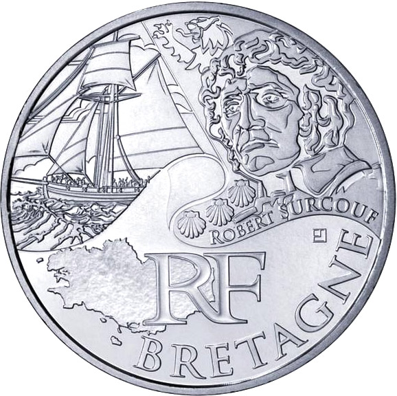 Image of 10 euro coin - Brittany (Robert Surcouf) | France 2012.  The Silver coin is of UNC quality.