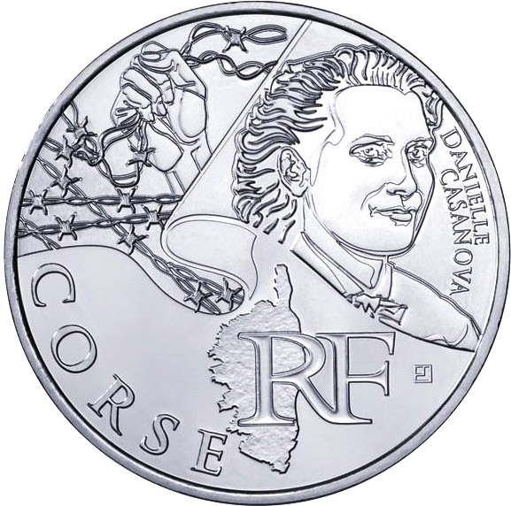 Image of Corsica (Danielle Casanova) – 10 euro coin France 2012.  The Silver coin is of UNC quality.