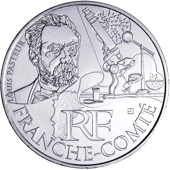 Image of 10 euro coin - Franche comte (Louis Pasteur) | France 2012.  The Silver coin is of UNC quality.