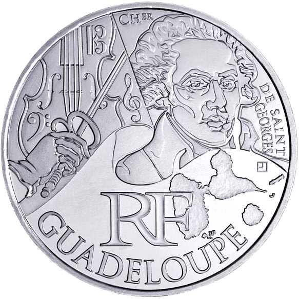 Image of 10 euro coin - Guadeloupe (Chevalier de Saint-Georges) | France 2012.  The Silver coin is of UNC quality.