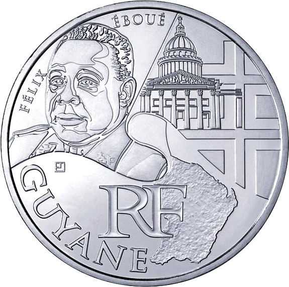 Image of 10 euro coin - French Guiana (Félix Eboué) | France 2012.  The Silver coin is of UNC quality.