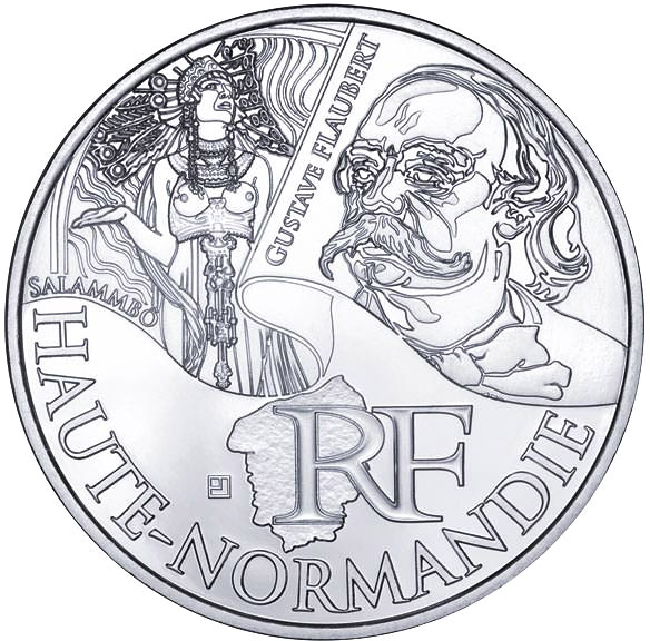 Image of 10 euro coin - Upper Normandy (Gustave Flaubert) | France 2012.  The Silver coin is of UNC quality.