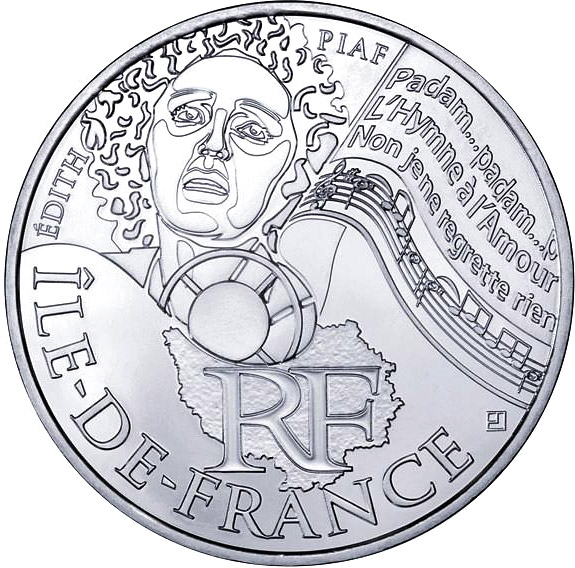 Image of Paris Isle of France (Edith Piaf) – 10 euro coin France 2012.  The Silver coin is of UNC quality.
