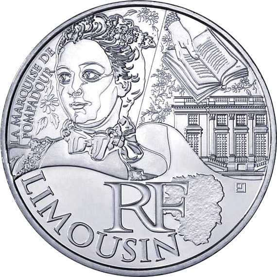 Image of 10 euro coin Limousin (Pompadour) | France 2012.  The Silver coin is of UNC quality.