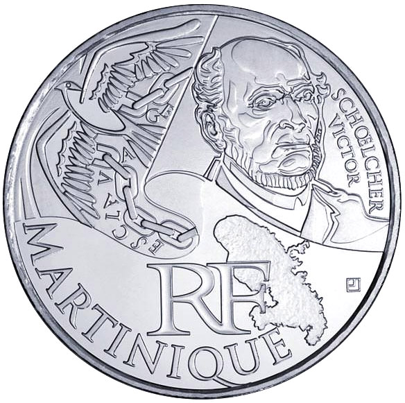 Image of 10 euro coin - Martinique (Victor Schoelcher) | France 2012.  The Silver coin is of UNC quality.