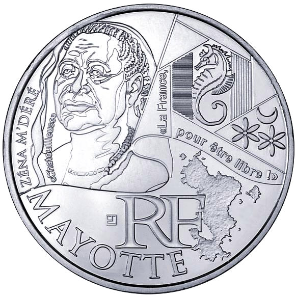 Image of 10 euro coin - Mayotte (Zéna M'déré) | France 2012.  The Silver coin is of UNC quality.