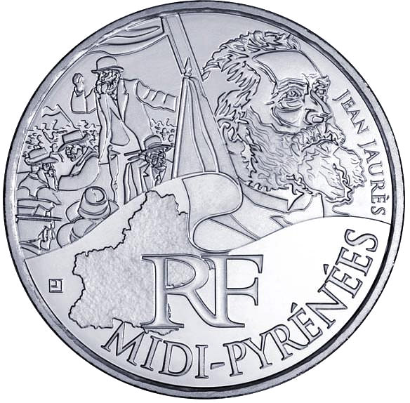 Image of 10 euro coin - Midi Pyrenees (Jean Jaurès) | France 2012.  The Silver coin is of UNC quality.