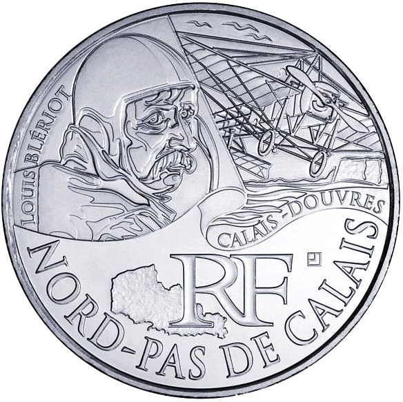 Image of 10 euro coin - North Calais (Louis Blériot) | France 2012.  The Silver coin is of UNC quality.