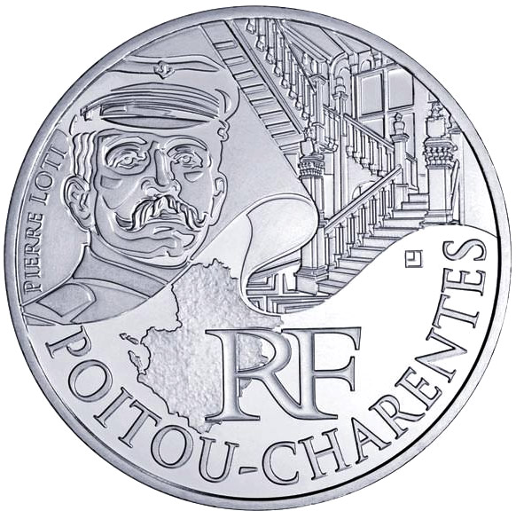 Image of 10 euro coin - Poitou Charentes (Pierre Loti) | France 2012.  The Silver coin is of UNC quality.