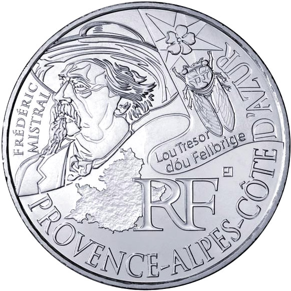 Image of 10 euro coin - Provence Alpes Azur (Frédéric Mistral) | France 2012.  The Silver coin is of UNC quality.