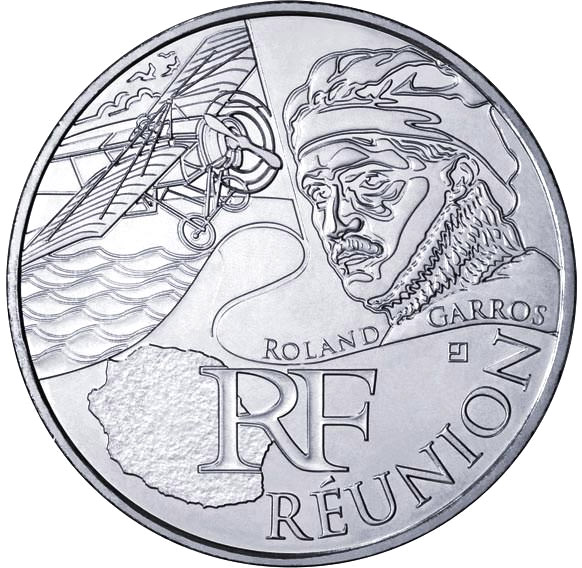 Image of Reunion (Roland Garros) – 10 euro coin France 2012.  The Silver coin is of UNC quality.