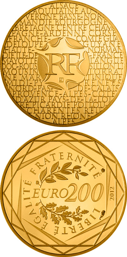 Image of 200 euro coin - Regions of France | France 2012.  The Gold coin is of Proof quality.