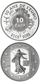 10 euro coin 10th Anniversary of the Euro | France 2012