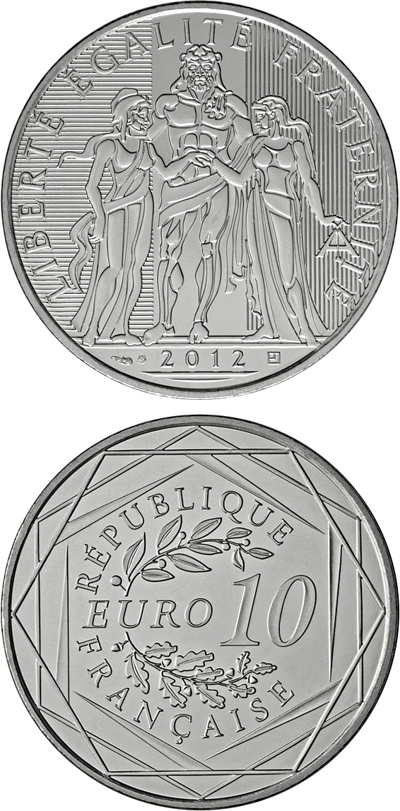 Image of 10 euro coin - Hercule | France 2012.  The Silver coin is of Proof quality.