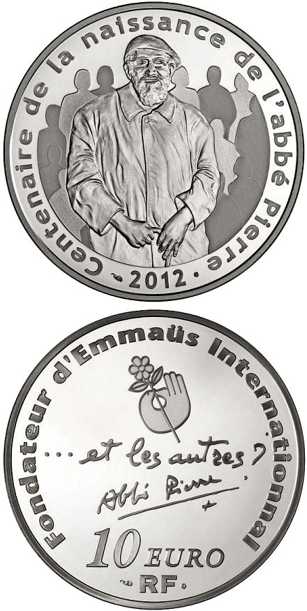 Image of 10 euro coin - 100th Anniversary of abbé Pierre's birth History | France 2012.  The Silver coin is of Proof quality.